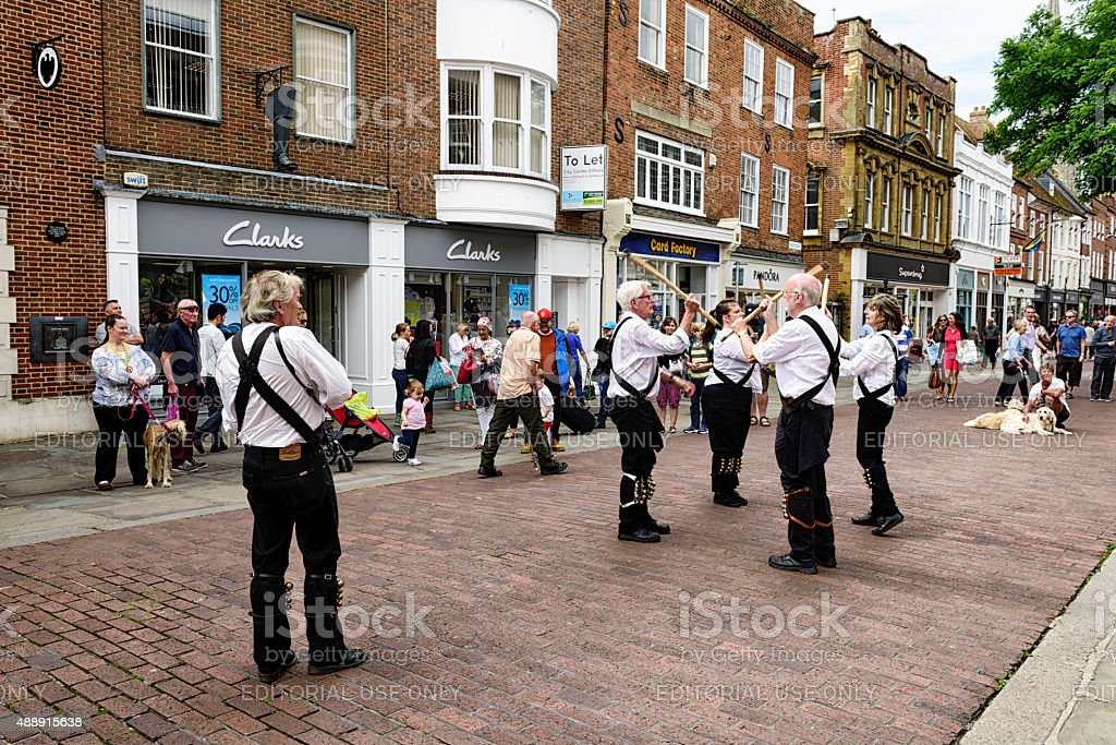 Morris dancers in Chichester, West Sussex, England stock photo