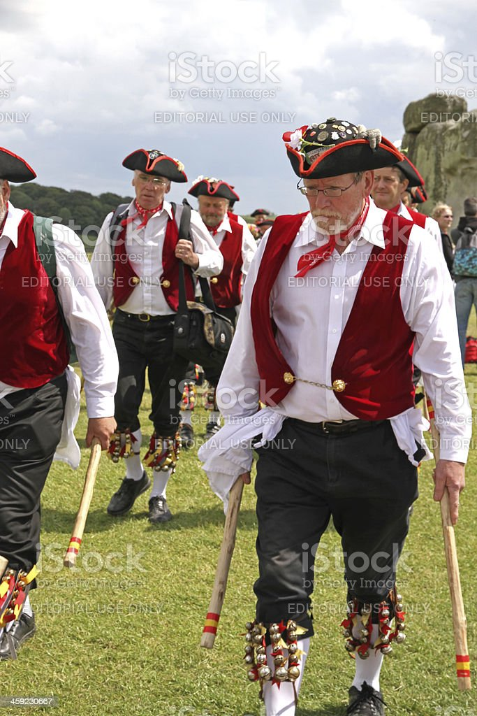Morris Dancers on the Solstice stock photo