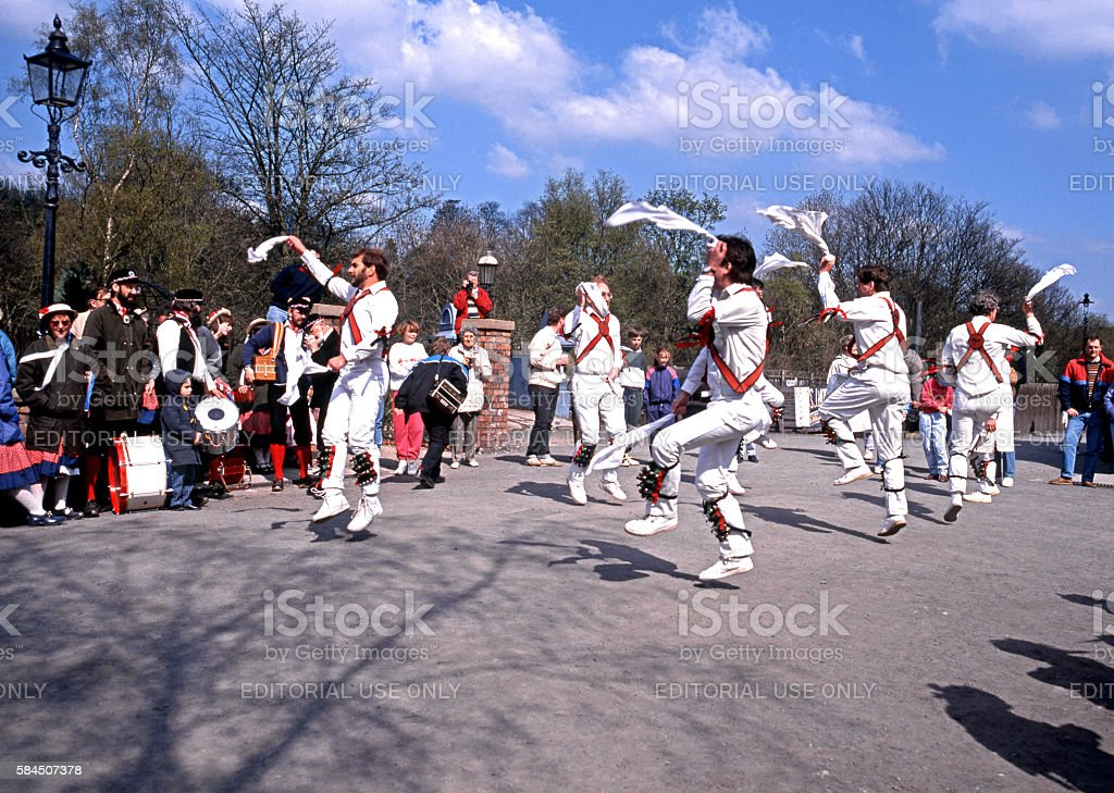 Morris dancing at Blists Hill Victorian Town. stock photo