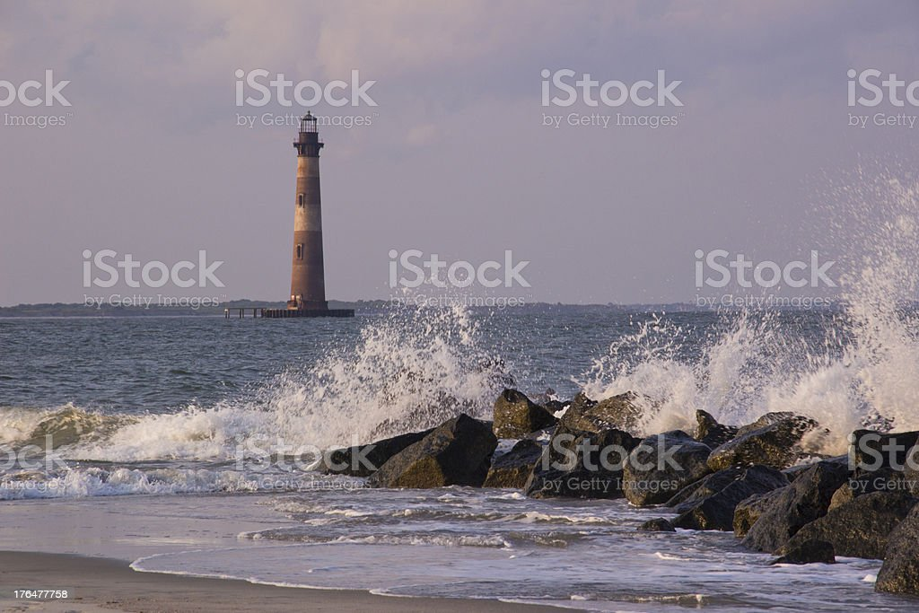 Morris Lighthouse Folly Beach SC royalty-free stock photo