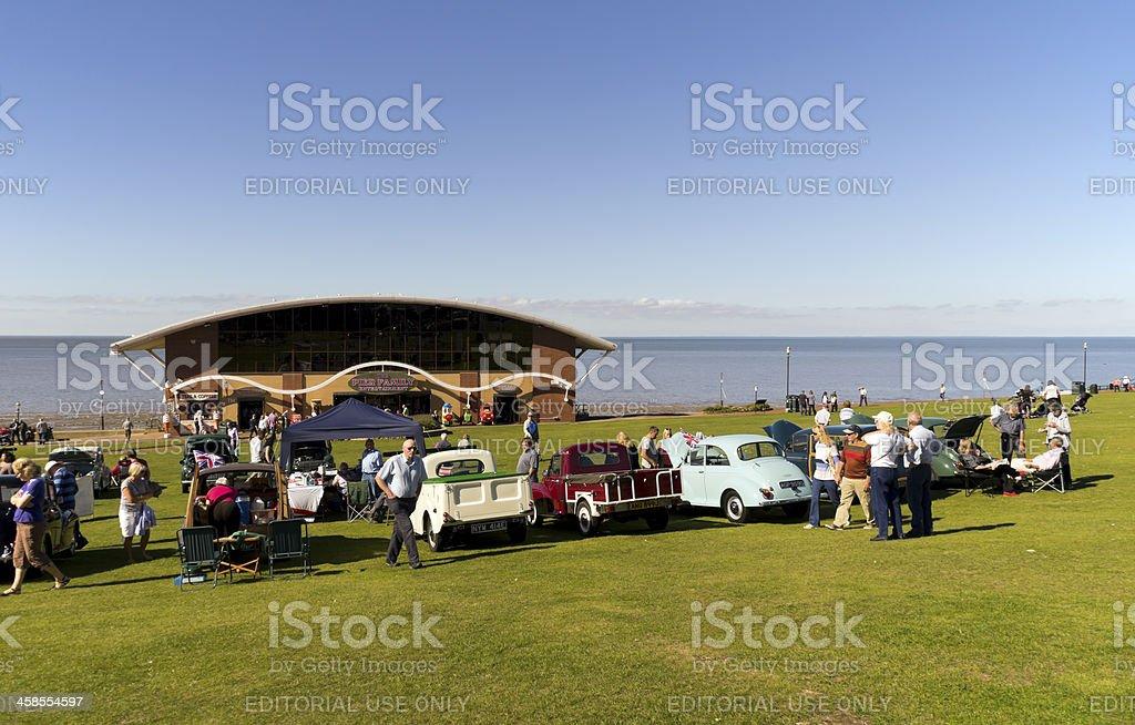 Morris Minor club meeting on Hunstanton Green royalty-free stock photo