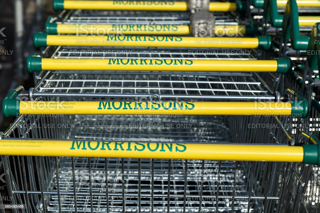 Morrisons supermarket trollies lined up stock photo