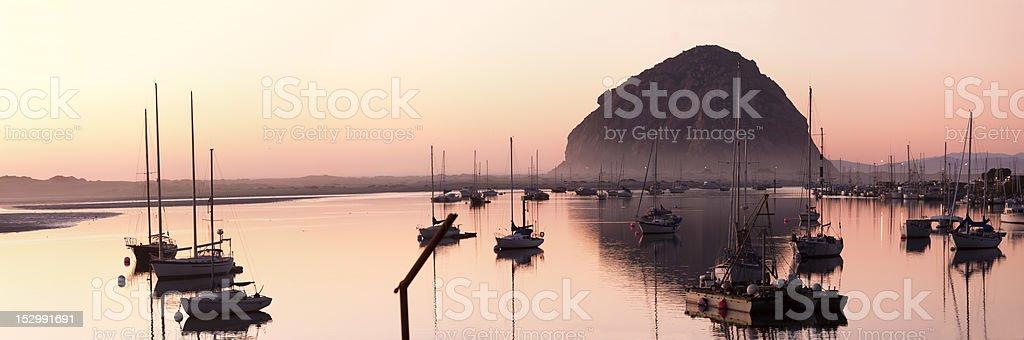 morro bay at dusk stock photo