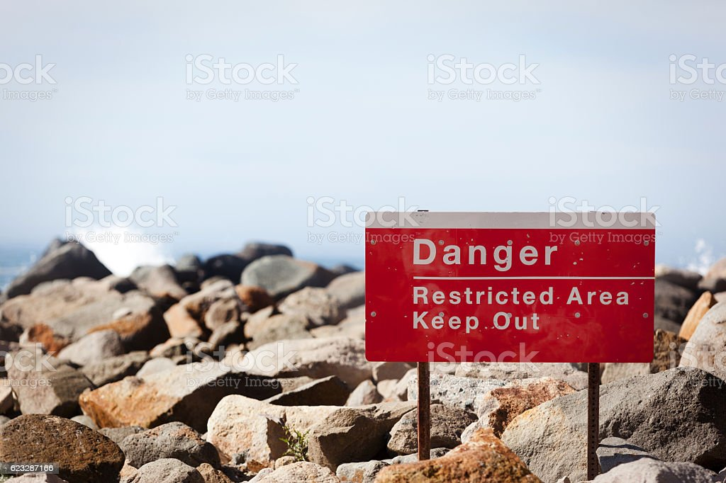 Morro Bay California High Waves Stormy Seas Danger Sign stock photo