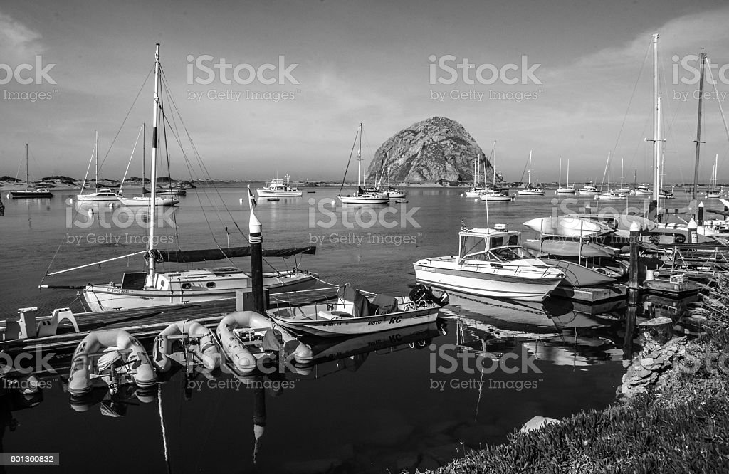 Morro Rock at Morro Bay Harbor, CA stock photo