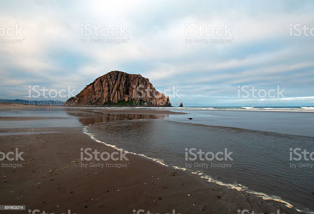 Morro Rock At Sunrise on the Central California Coast stock photo