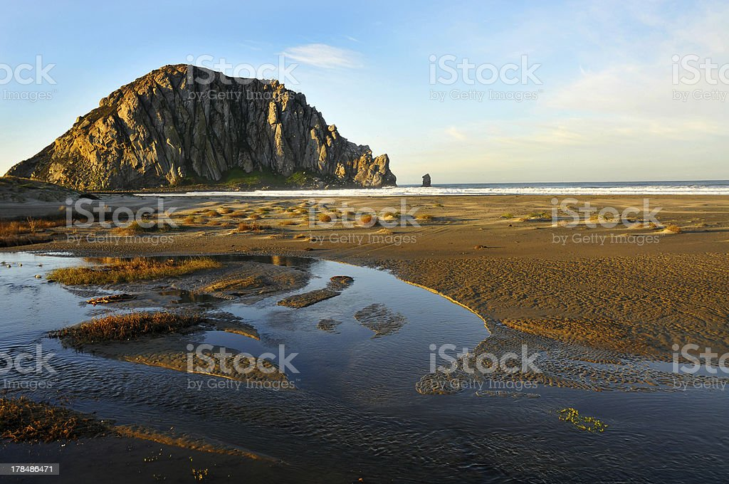 Morro Rock At Sunrise stock photo