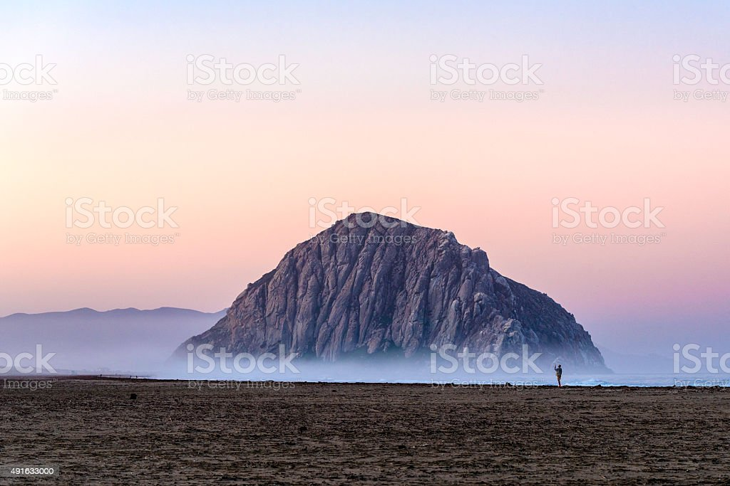 Morro Rock Floating in the Fog stock photo