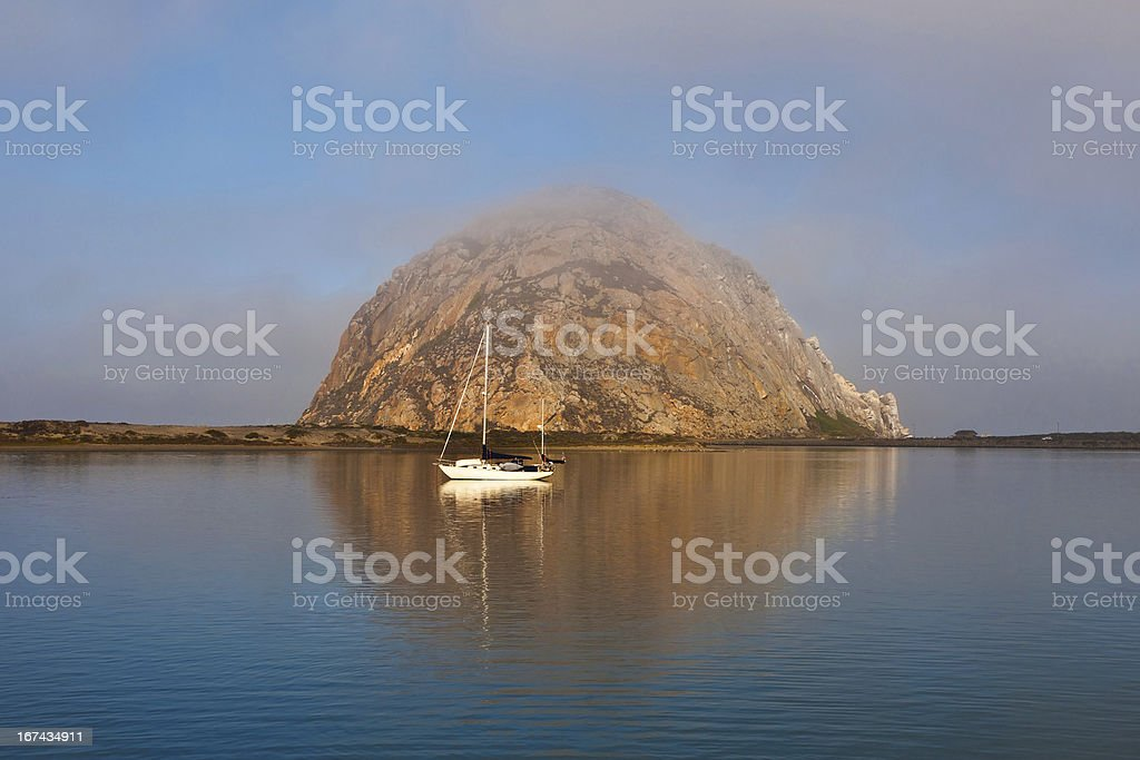Morro Rock in the early morning lights royalty-free stock photo