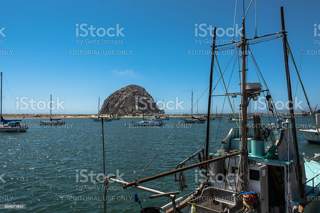 Morro Rock in the Morro Bay harbor, California stock photo