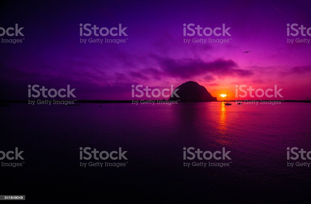 Morro Rock Sunset stock photo