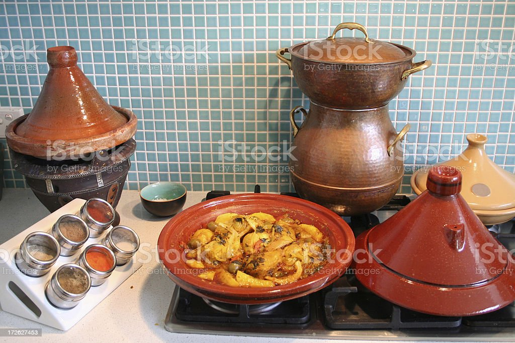 Morrocan Kitchen Pots stock photo