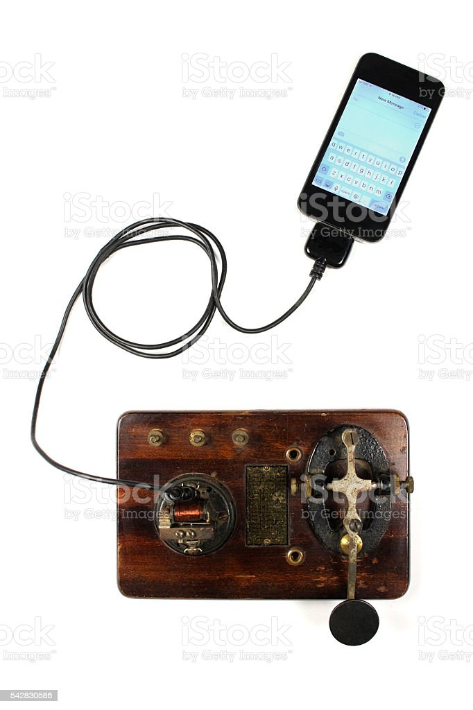 Morse Code Machine Connected To Smart Phone stock photo