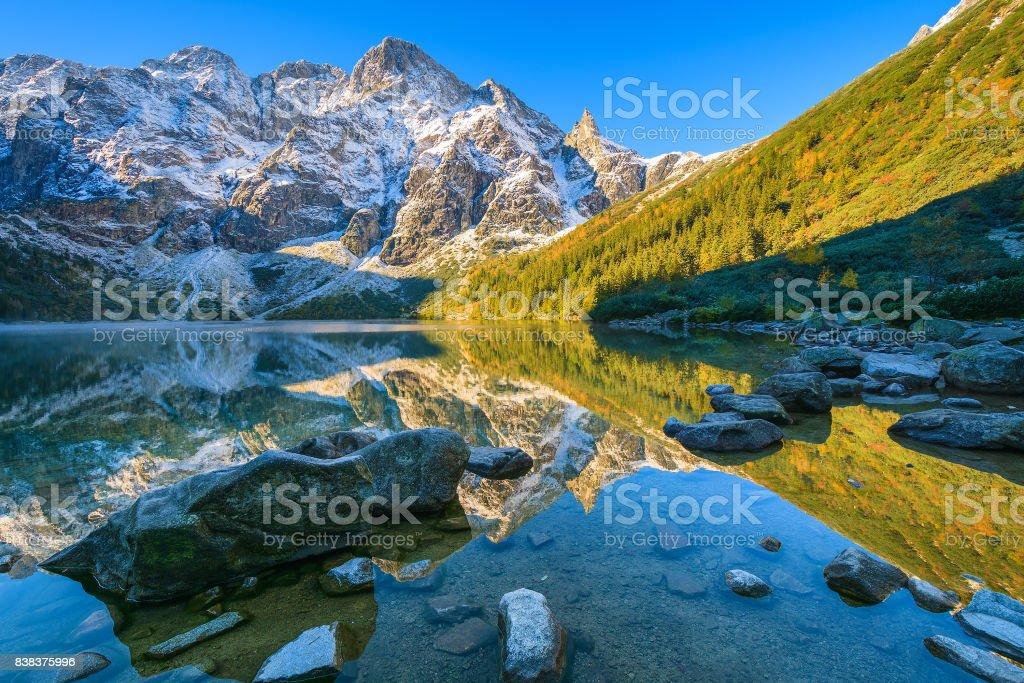 Morskie Oko lake in late autumn season, Tatra Mountains, Poland stock photo