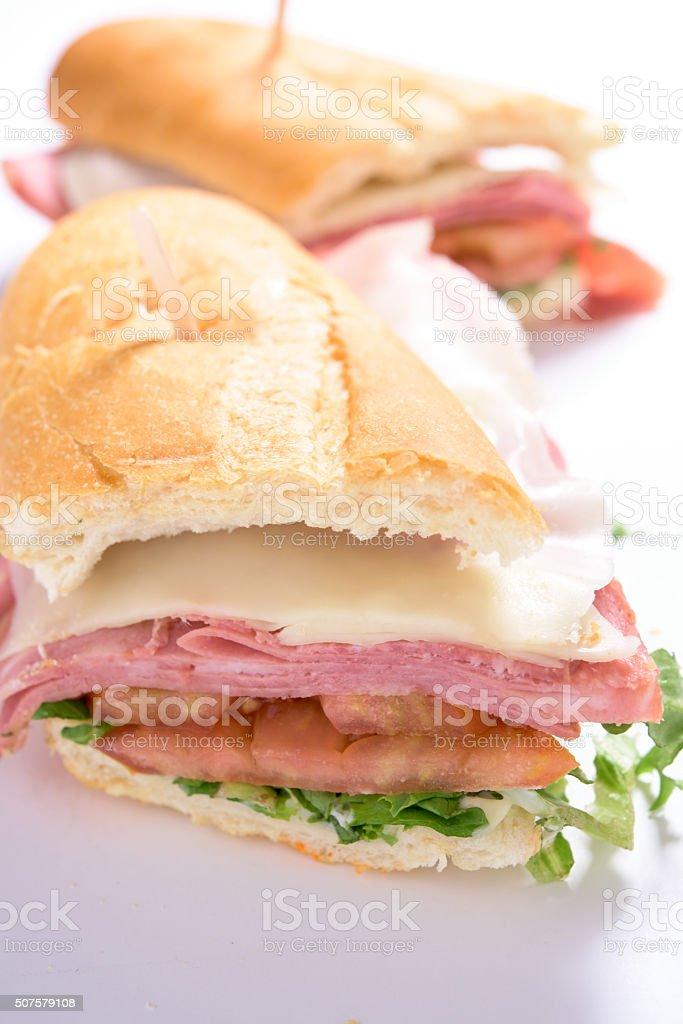 Mortadella and cheese sandwich stock photo