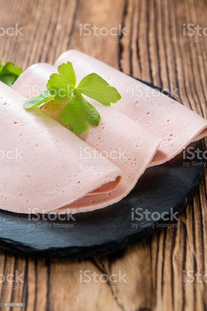 Mortadella Slices stock photo