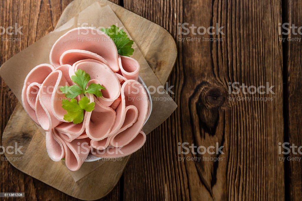 Mortadella Slices stock photo