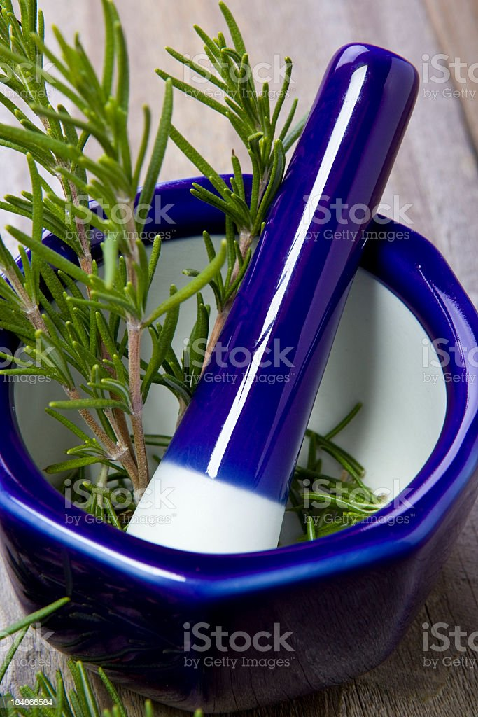 Mortar & Pestle with Rosemary royalty-free stock photo