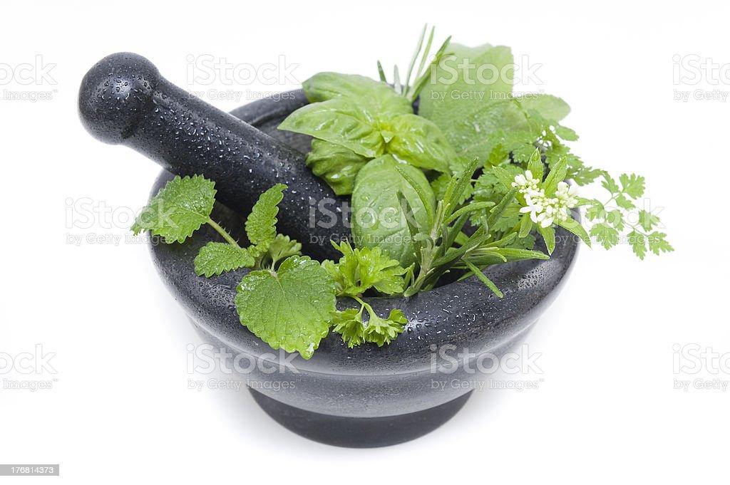 Mortar and Herbs royalty-free stock photo