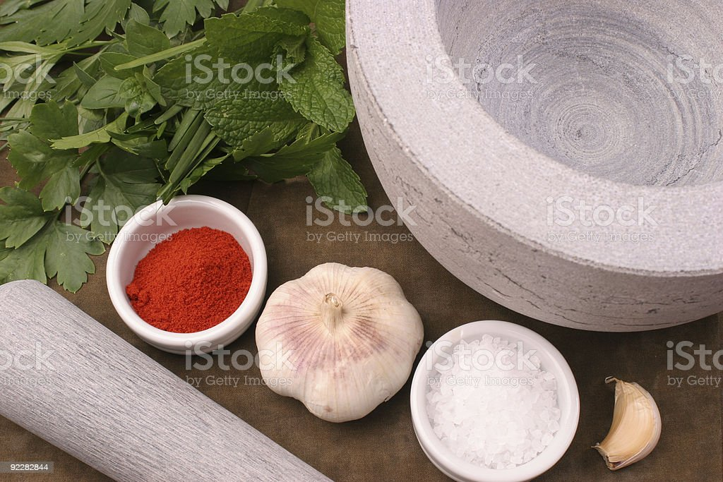 Mortar and pestle essentials royalty-free stock photo