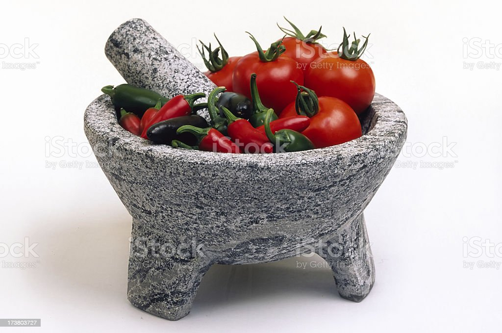 Mortar and Pestle, Pre-Salsa royalty-free stock photo