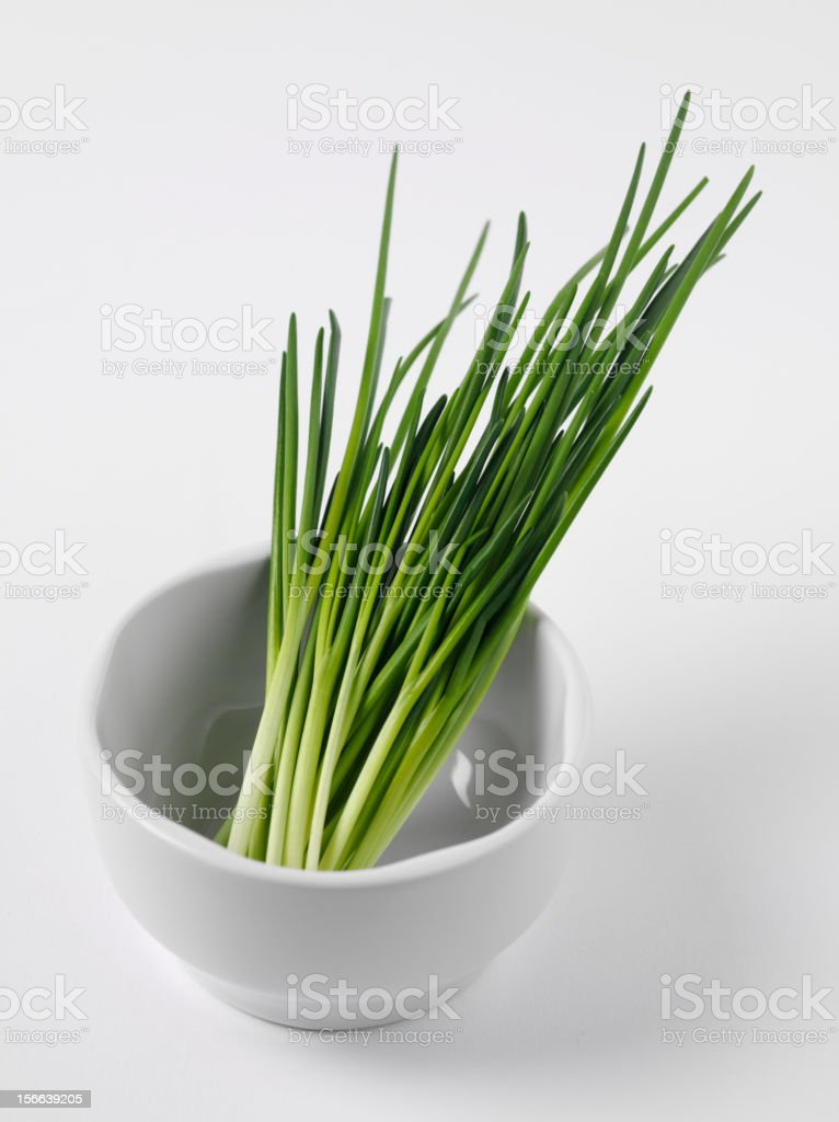 Mortar and Pestle with Chives royalty-free stock photo