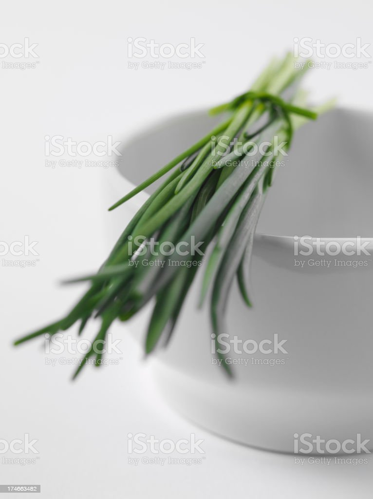 Mortar and Pestle with Chives stock photo