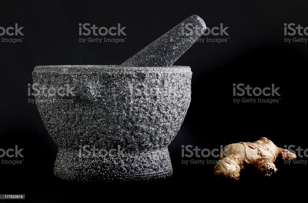 Mortar and pestle with ginger royalty-free stock photo