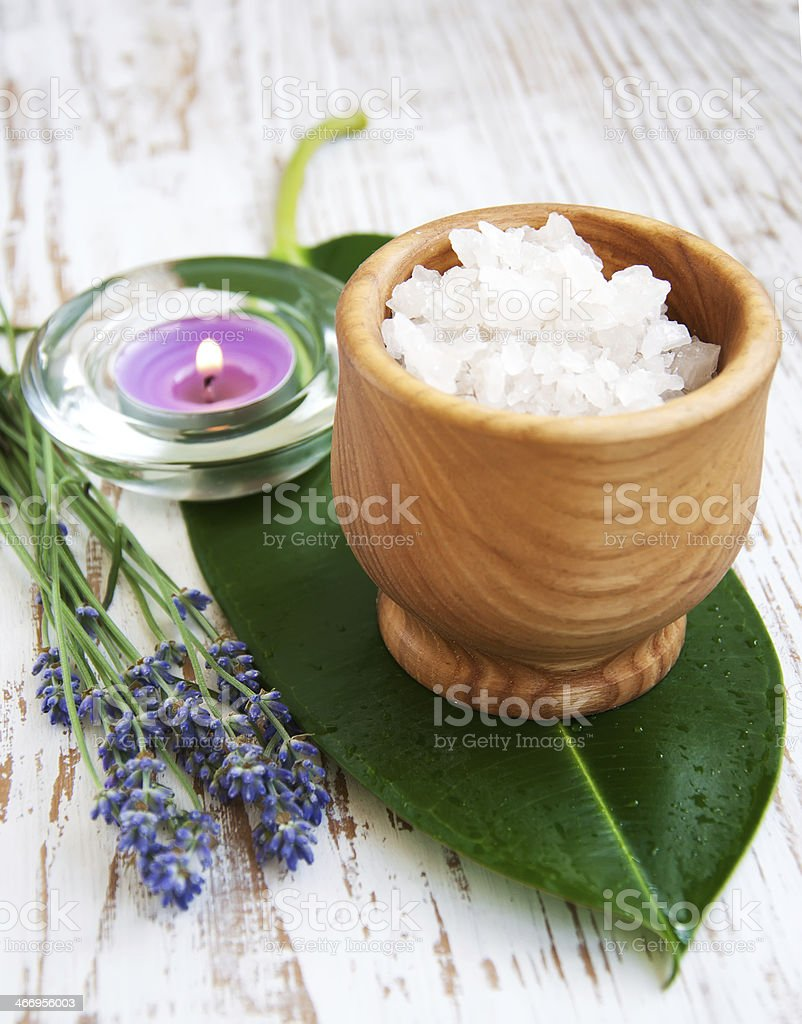 Mortar and pestle with lavender salt royalty-free stock photo