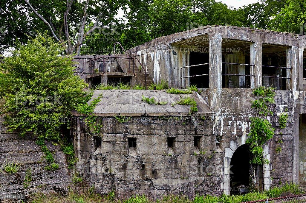 Mortar Battery Ruins at Fort Washington stock photo
