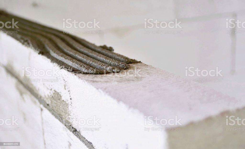 Mortar bed closeup stock photo