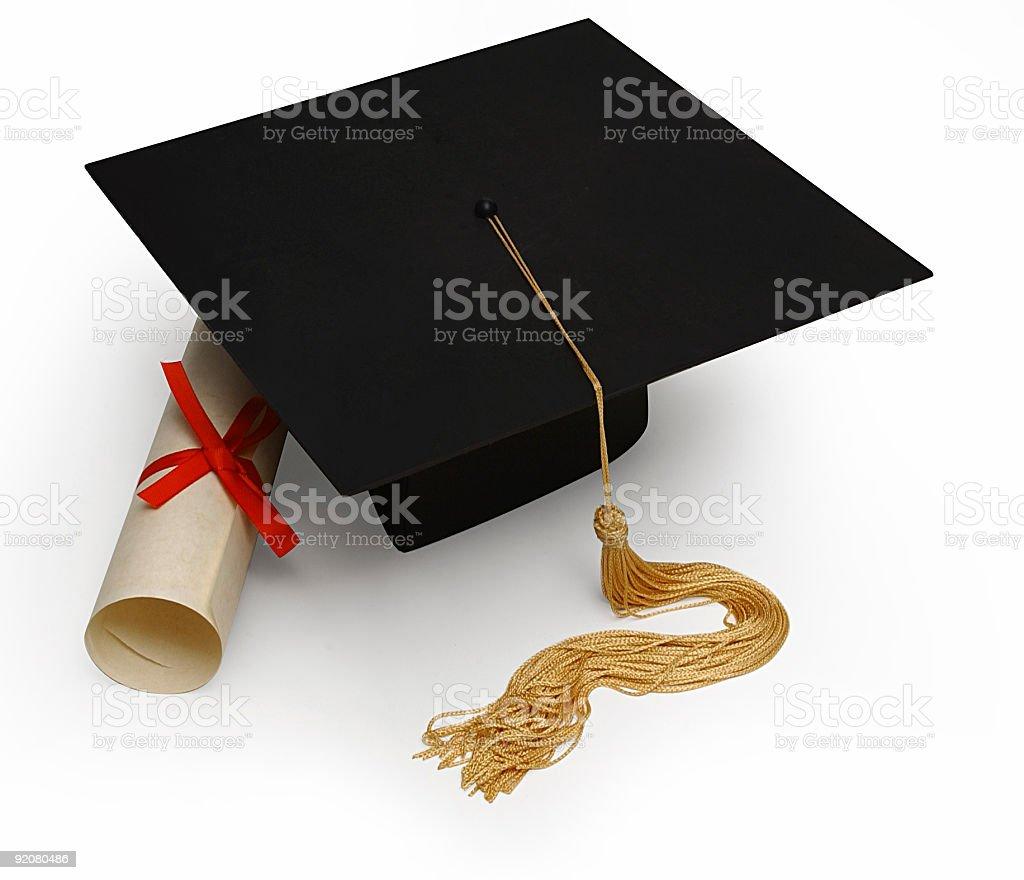 mortar board & diploma stock photo