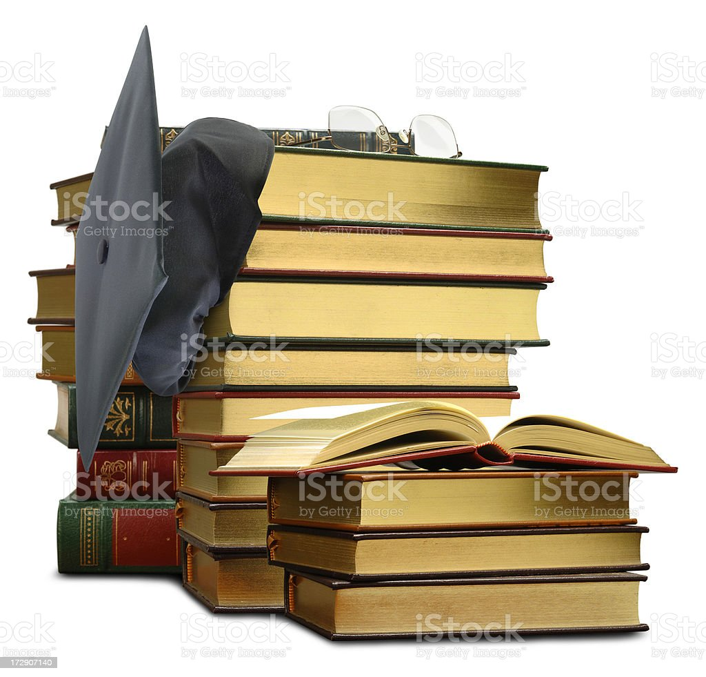 Mortar Board and Books royalty-free stock photo