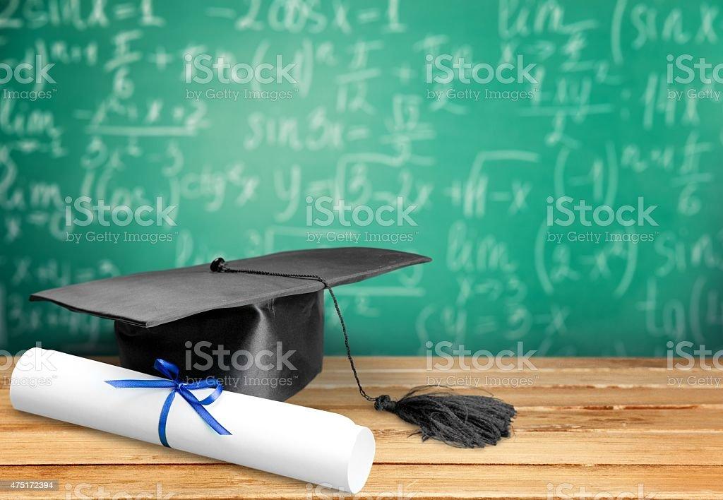 Mortar Board, Graduation, Certificate stock photo