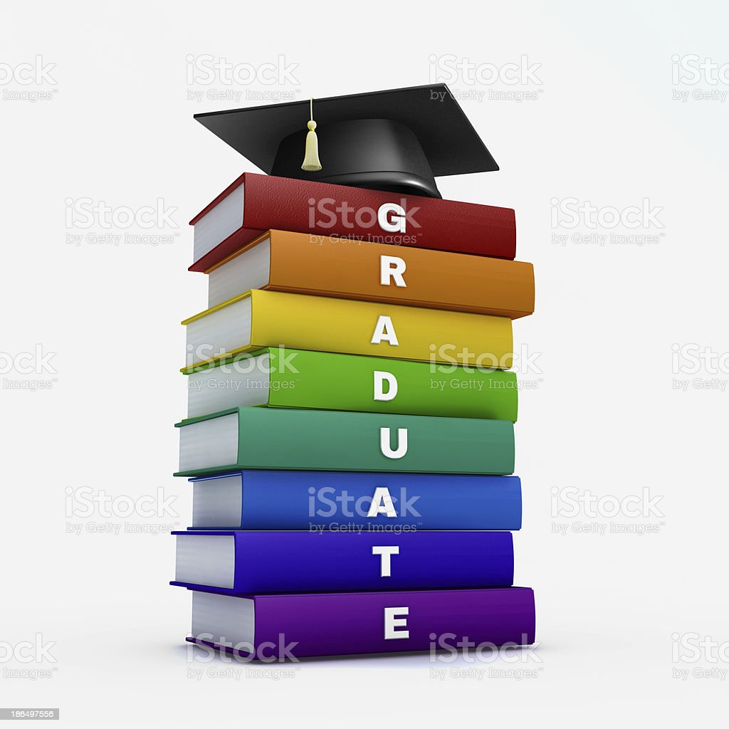 Mortar board on stack of rainbow graduate book stock photo