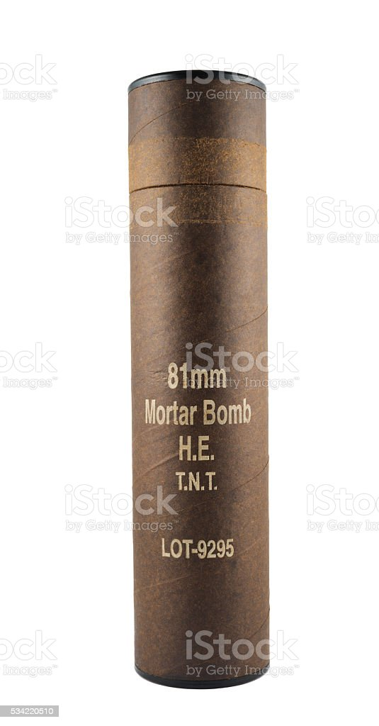 Mortar bomb tube container isolated stock photo