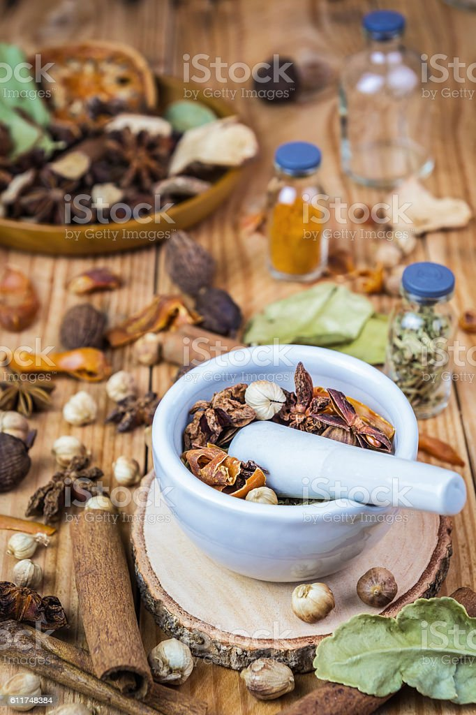 Mortar grinder and herb medicine stock photo