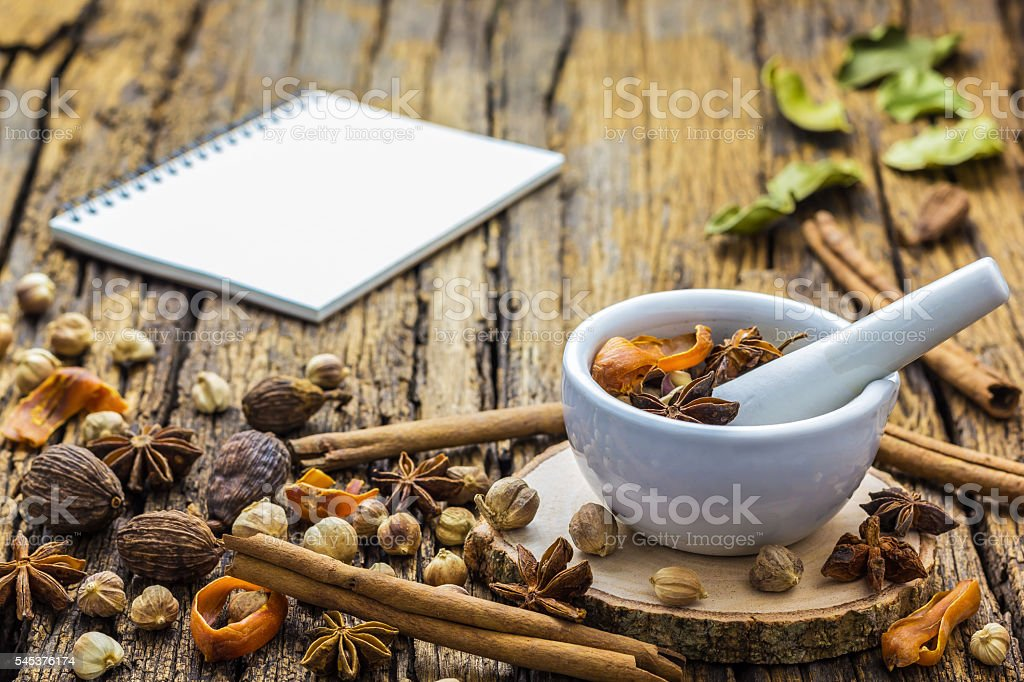 Mortar Grinder Herb stock photo