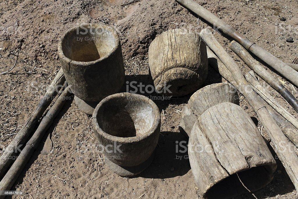 Mortar in the Dogon stock photo