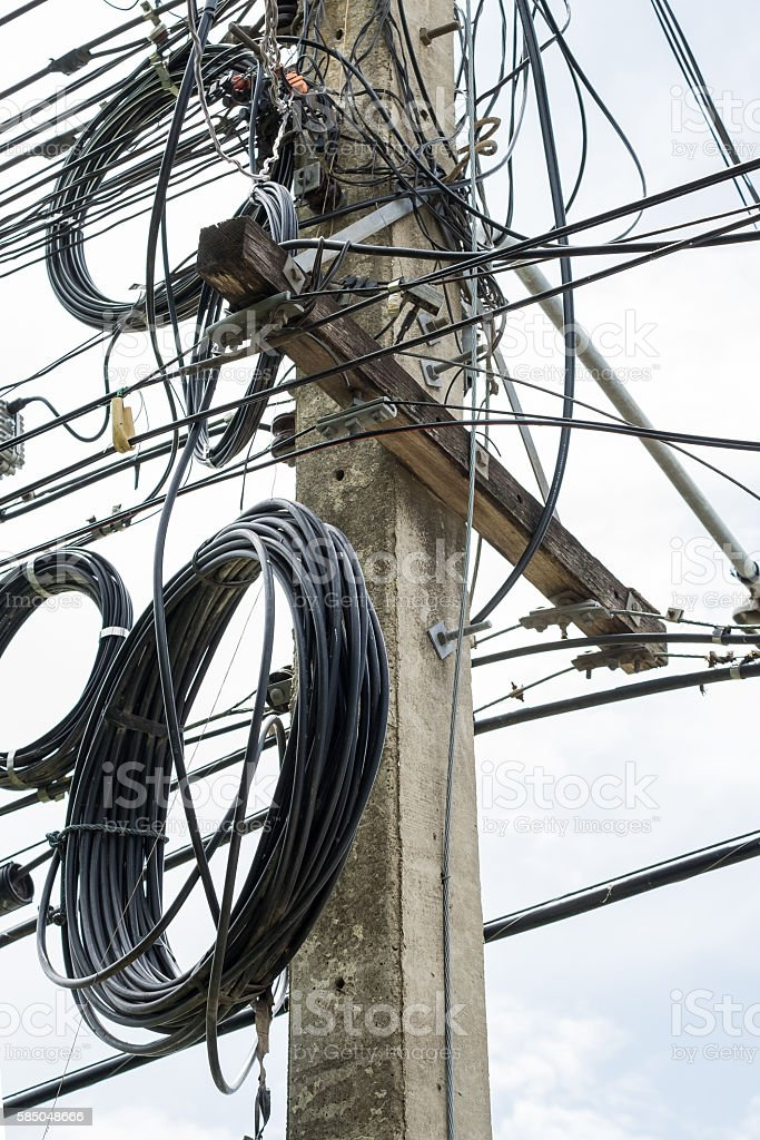 Mortar pole electricity power untidy stock photo