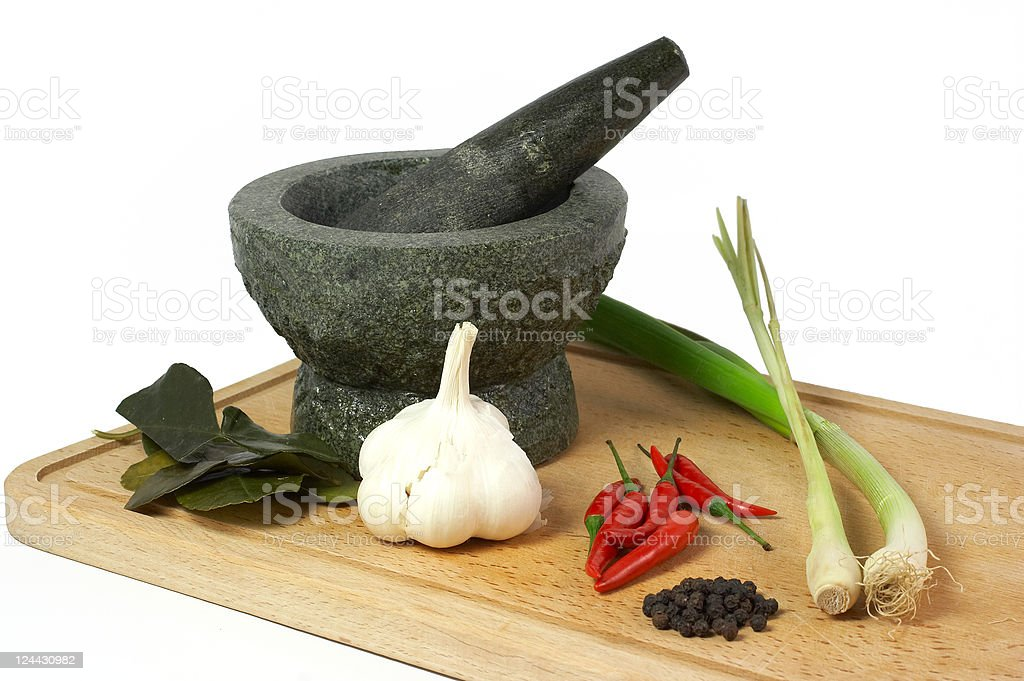 Mortar with fresh ingredients royalty-free stock photo