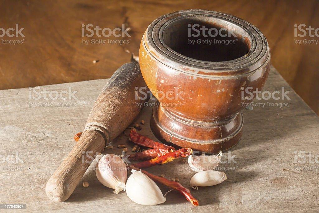 Mortar with garlic and chili royalty-free stock photo