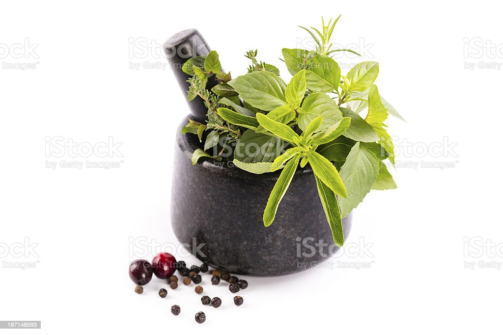 mortar with herbs royalty-free stock photo