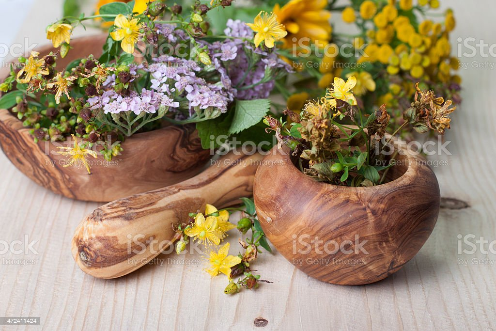 Mortar with pestle and herbs stock photo