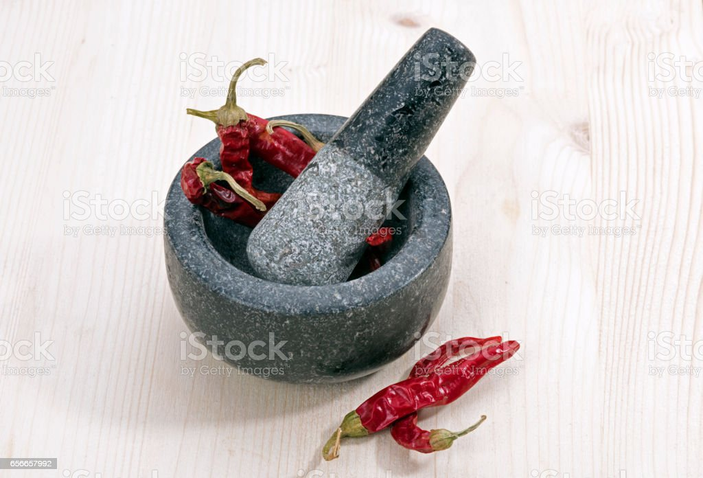 Mortar with red pepper stock photo