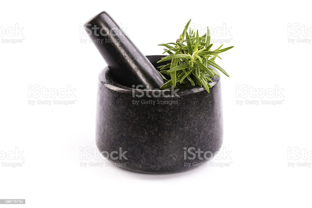 mortar with rosemary royalty-free stock photo