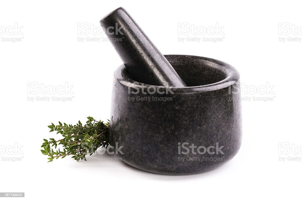 mortar with thyme royalty-free stock photo