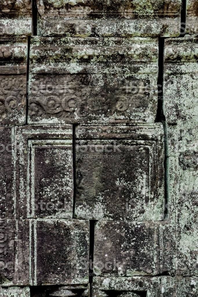 Mortarless stone block wall, Ta Som Temple, Angkor, Siem Reap, Cambodia stock photo