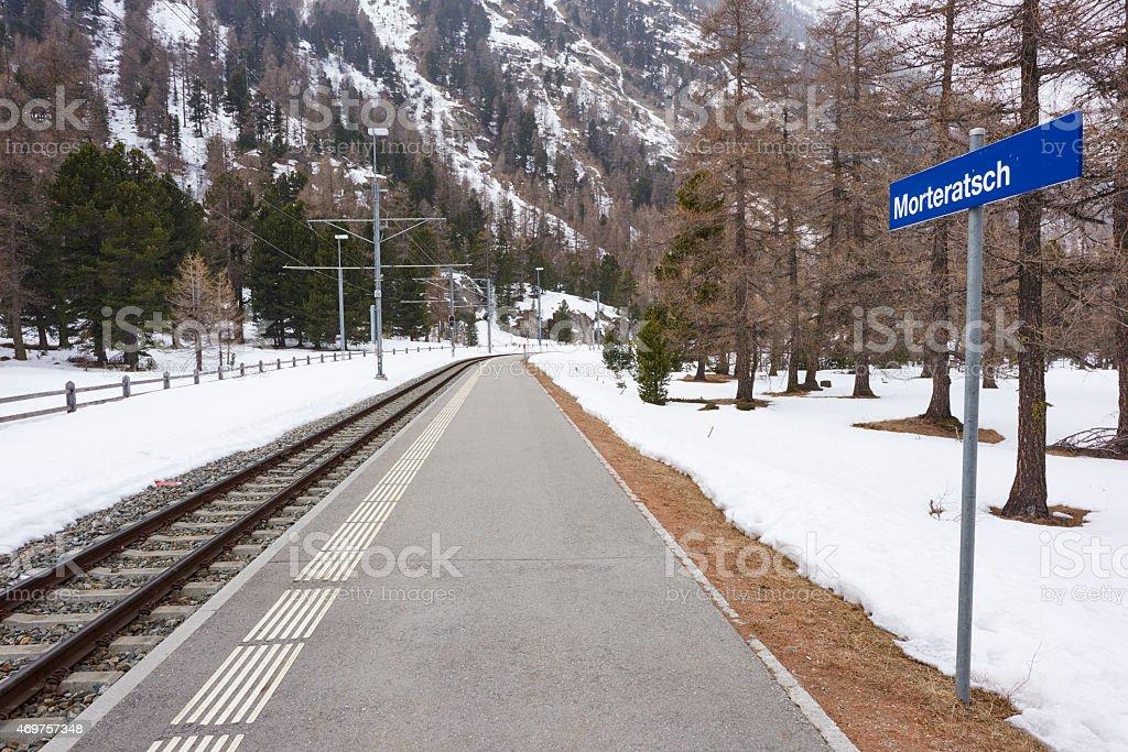 Morteratsch Railroad Station stock photo