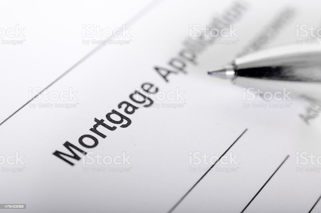 Mortgage application form close up with pen stock photo